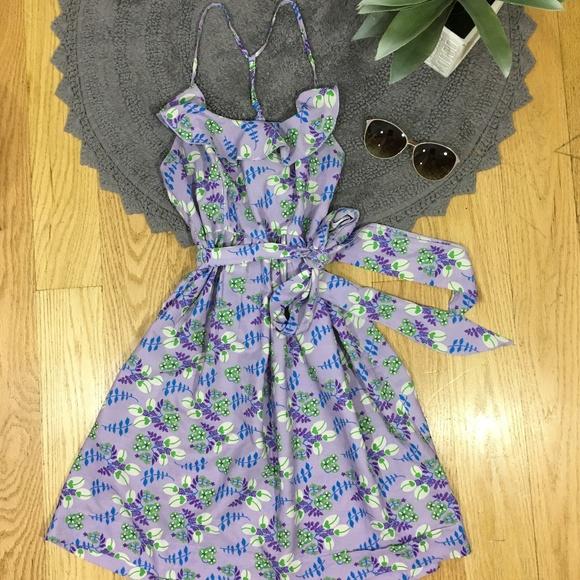 Johnny Martin Dresses & Skirts - Floral Printed Ruffled Dress w Spaghetti Racerback